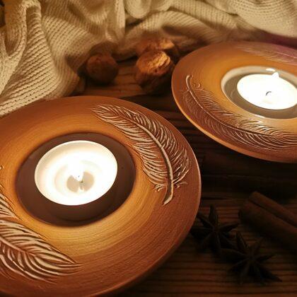Teelichtschalen, Naturton rotbraun, Preis €8,- bis 9,- je nach Größe